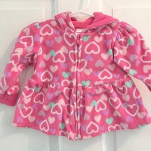 *4for$25 Heart Print Fleece Hoodie SZ 6-9M